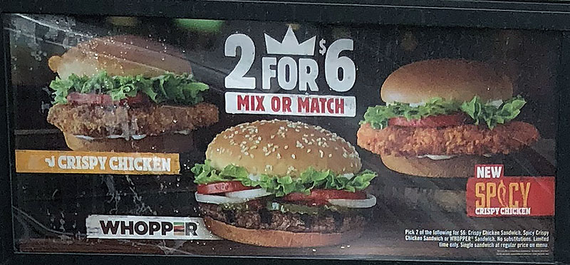 Burger King menu 2018 - 2 for 6 mix or match