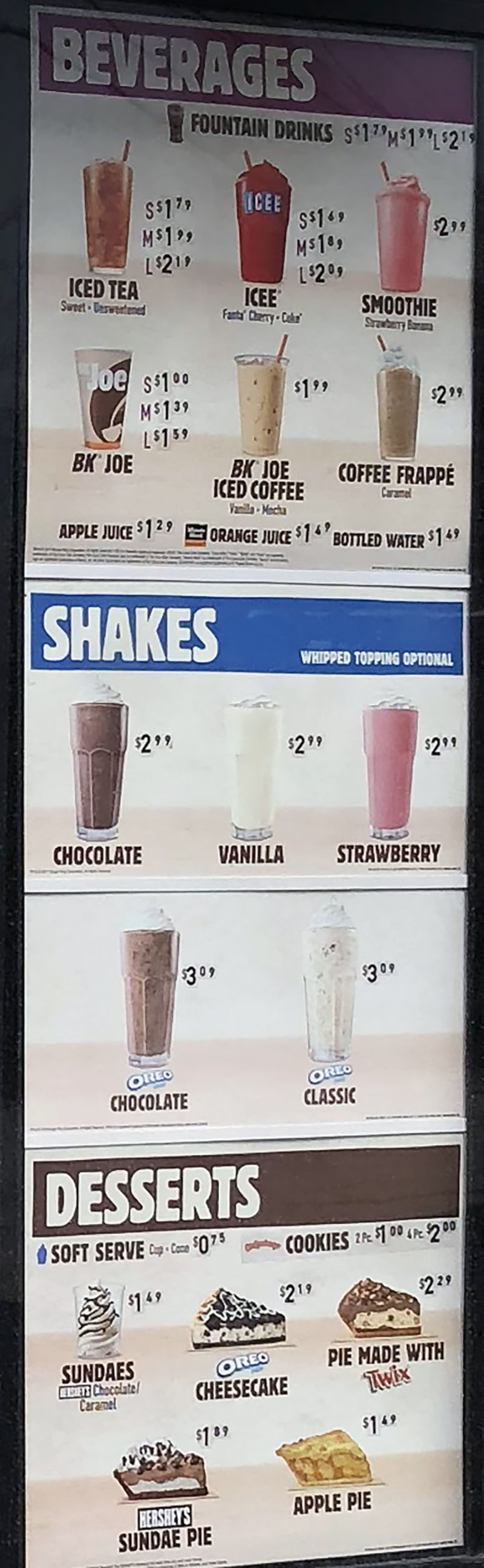 Burger King menu 2018 - beverages, shakes, desserts