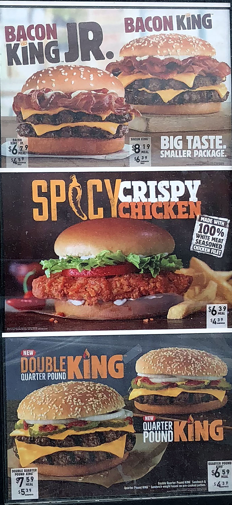 Burger King menu 2018 - specials