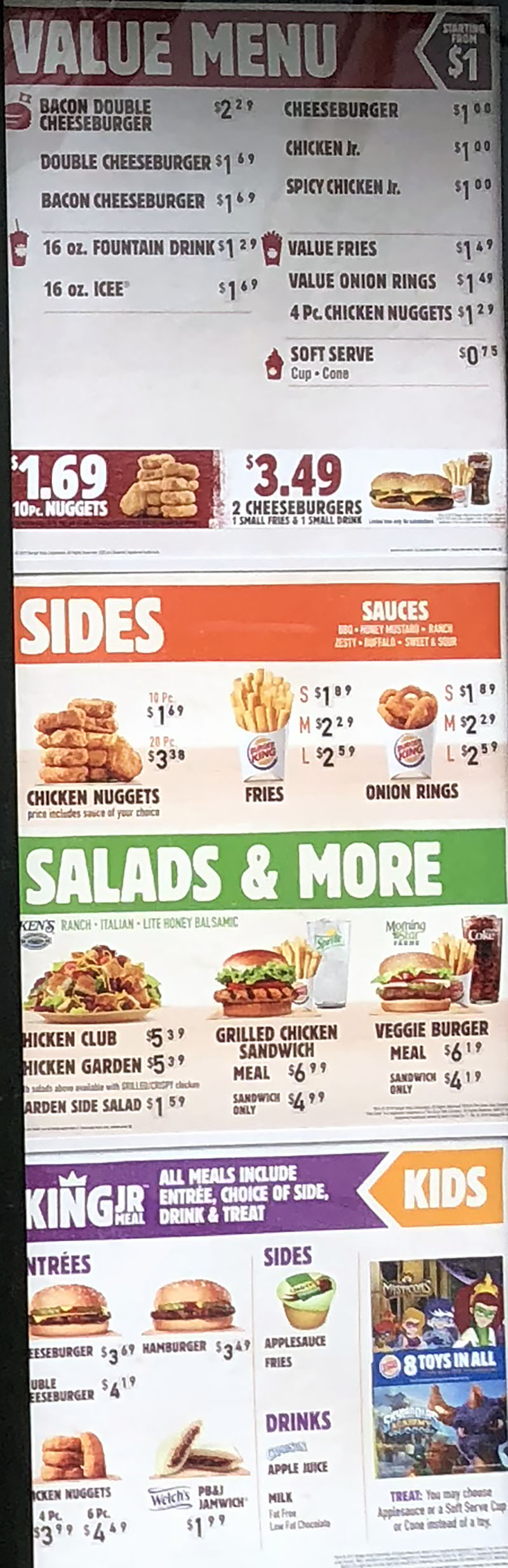 Burger King menu 2018 - value menu, sides, salads, kids