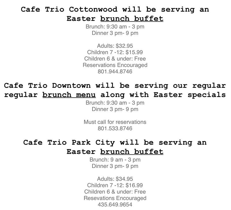 Cafe Trio Easter 2018 menu