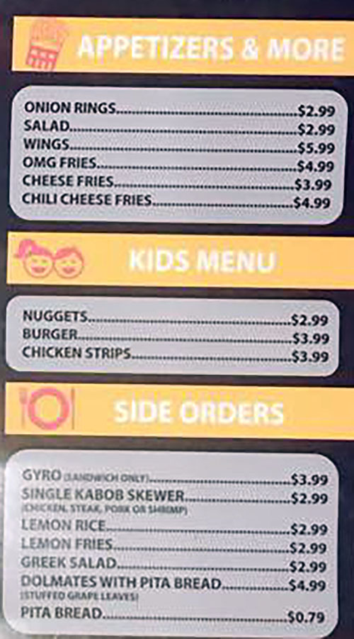 Eaton Greek And Burgers - appetizers, kids, sides