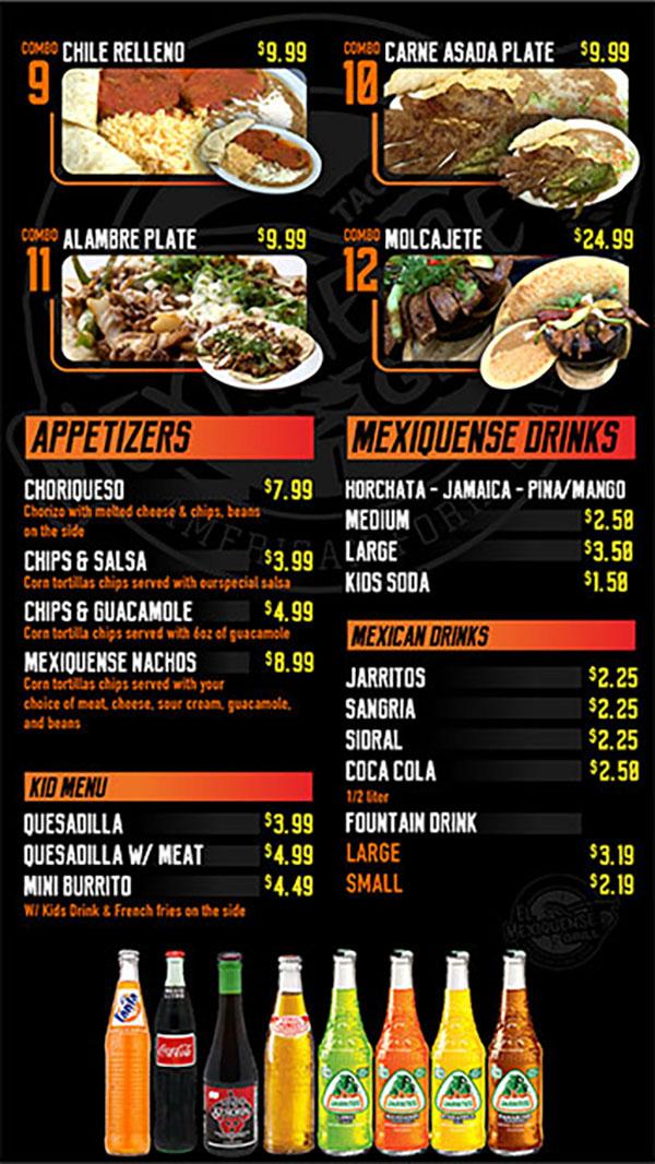 El Mexiquense menu - appetizers, drinks, kids
