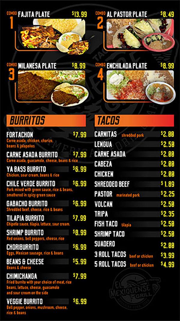 El Mexiquense menu, burritos, tacos