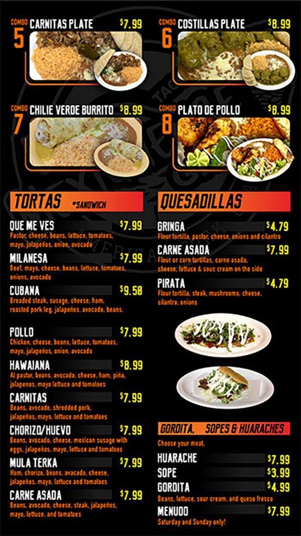 El Mexiquense menu - tortas, quesadillas