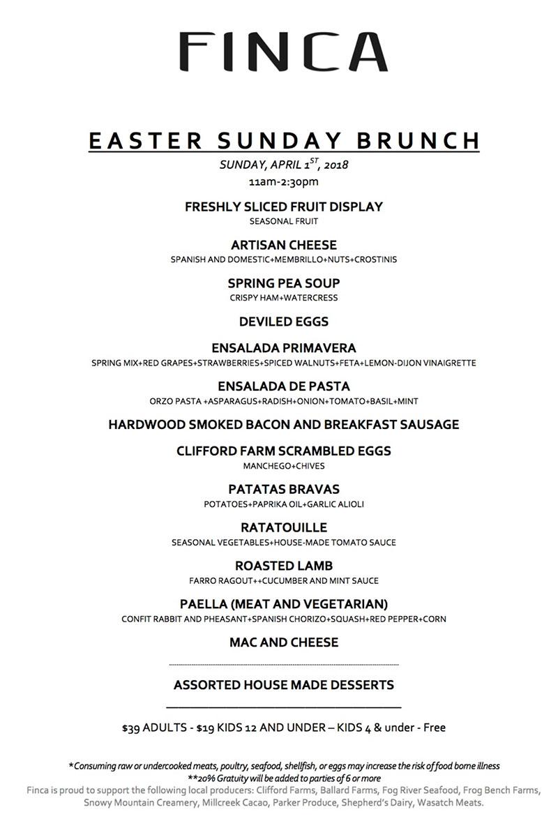 Finca Easter 2018 menu