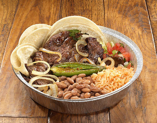 Hacienda Mexican Grill - carne asada with rice and beans (Hacienda Mexican Grill)