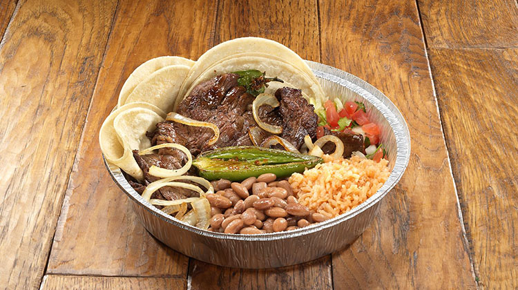 Hacienda Mexican Grill - carne asada with rice and beans (Hacienda Mexican Grill)