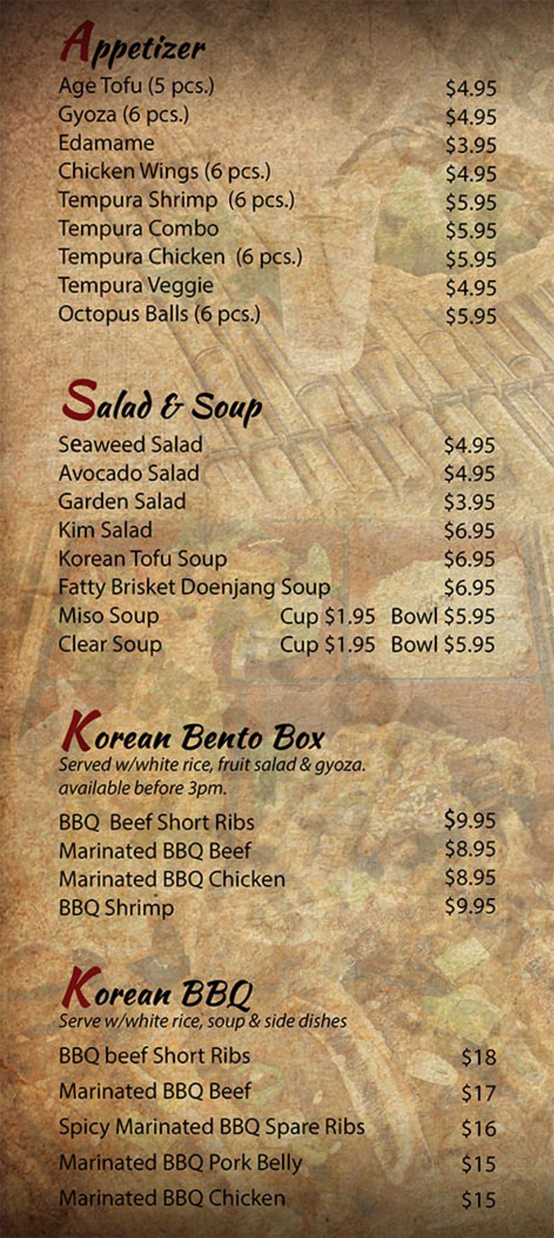 Kim Korean House And Sushi Bar menu - appetizer, soup, salads, Korean bento, Korean BBQ