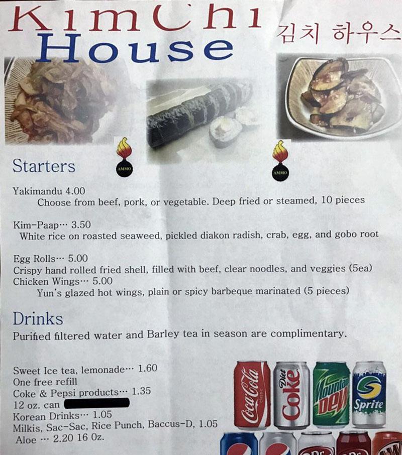 Kimchi House menu - starters