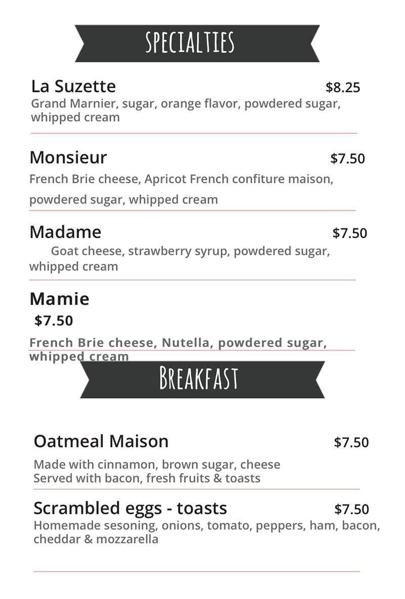 Monsieur Crepes menu - specialties, breakfast
