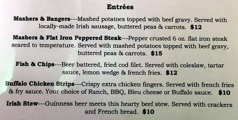 Murphy's Bar And Grill menu - entrees