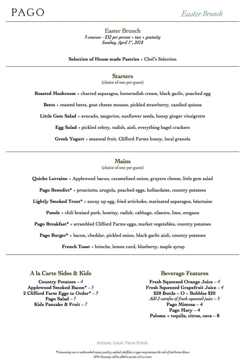 Pago Easter 2018 menu