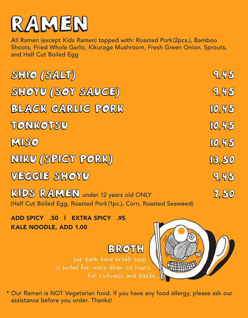 Ramen 930 menu - ramen