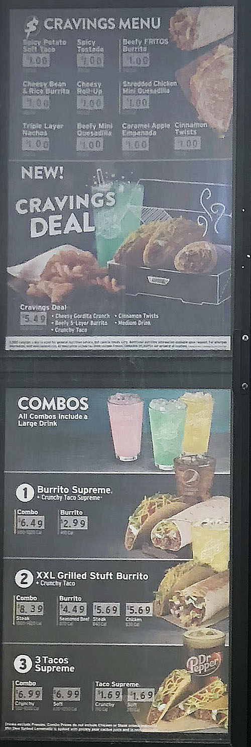 Taco Bell menu - cravings menu, combos