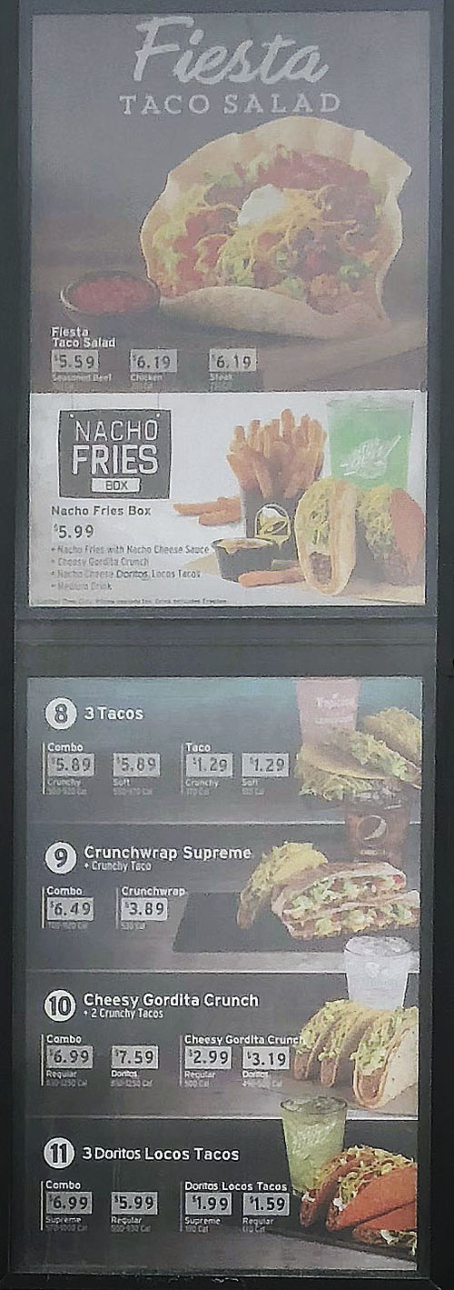Taco Bell menu - fiesta taco salad, crunchwrap, nacho fries