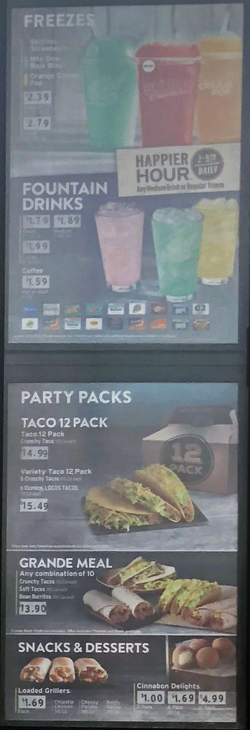 Taco Bell menu - freezes, drinks, party packs, meals, snacks, desserts