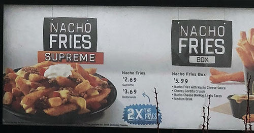Taco Bell menu - nacho fries supreme, nacho fries box