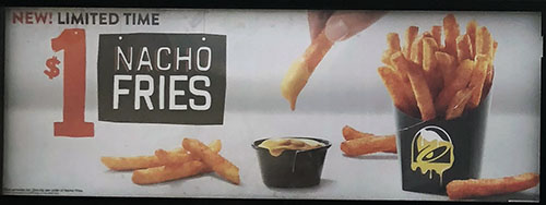Taco Bell menu - one dollar nacho fries