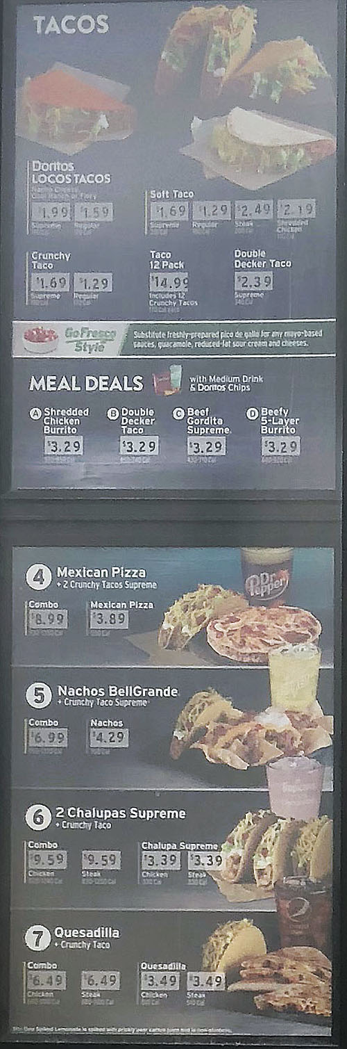 Taco Bell menu - tacos, mexican pizza, nachoes, chalupas, quesadillas