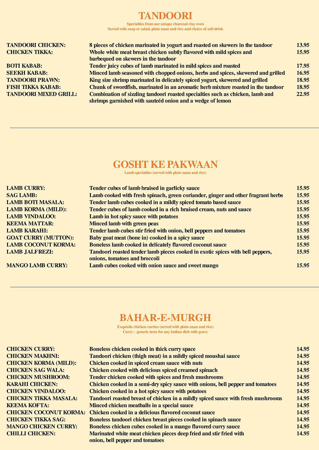 Taj India menu - tandoori, lamb, chicken