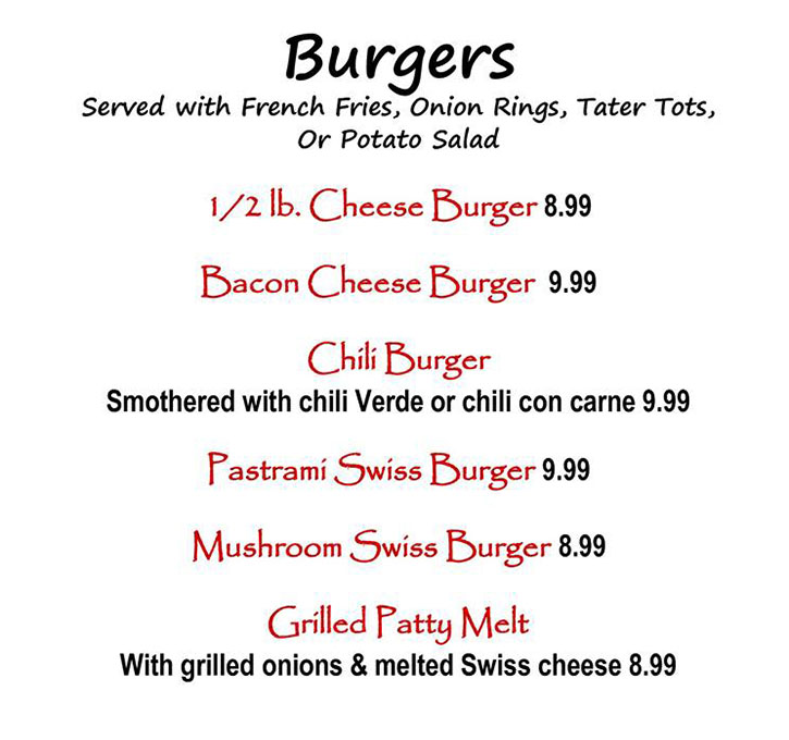Alice's Kitchen lunch menu - burgers