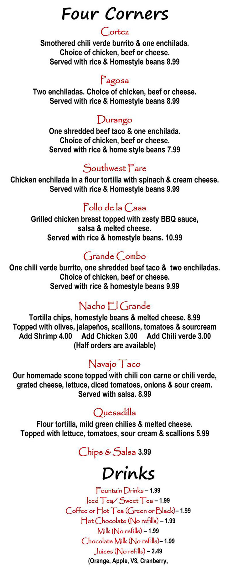 Alice's Kitchen lunch menu - four corners, drinks