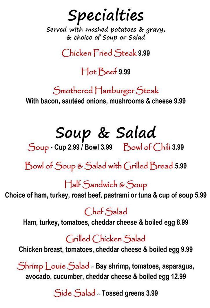 Alice's Kitchen lunch menu - lunch specialties, soup, salad