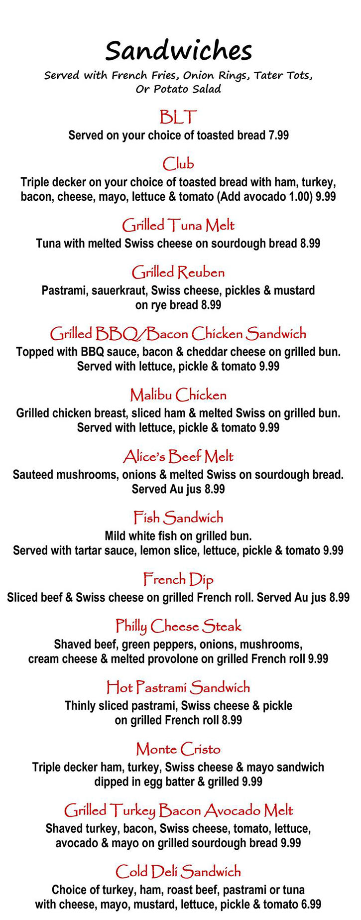 Alice's Kitchen lunch menu - sandwiches