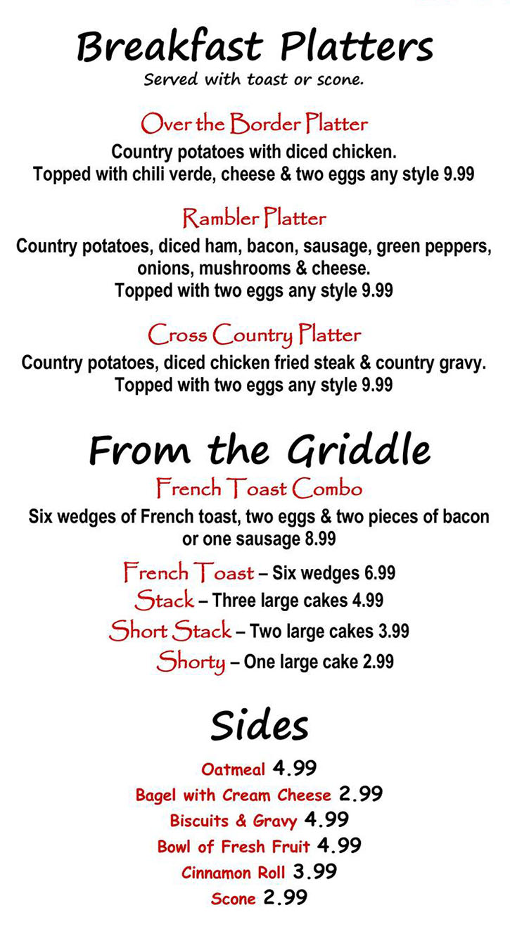 Alice's Kitchen menu - breakfast platters, griddle, sides