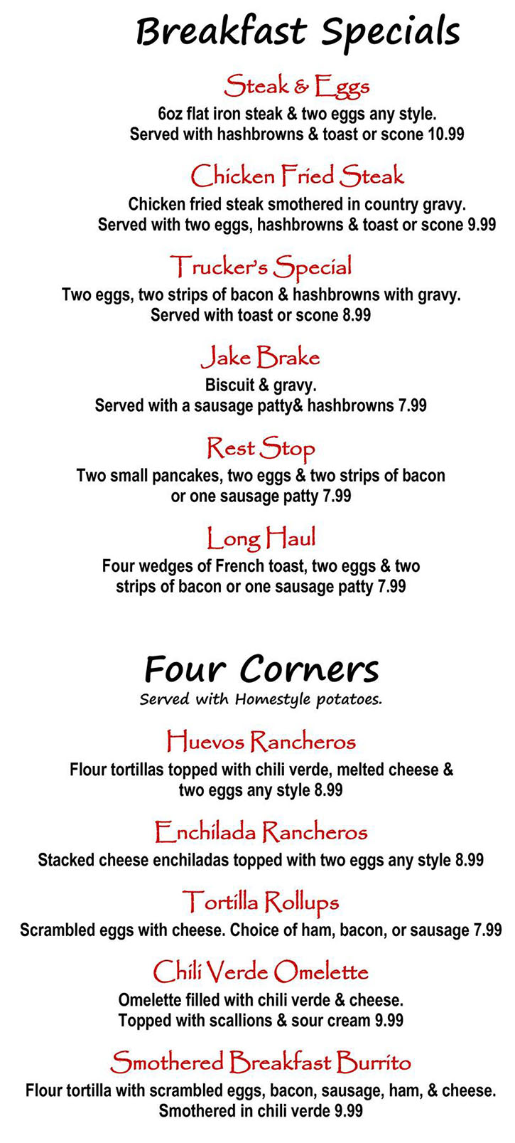 Alice's Kitchen menu - breakfast specials, four corners