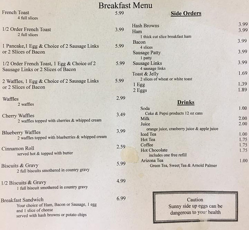 Hitching Post menu - breakfast continued, sides, drinks
