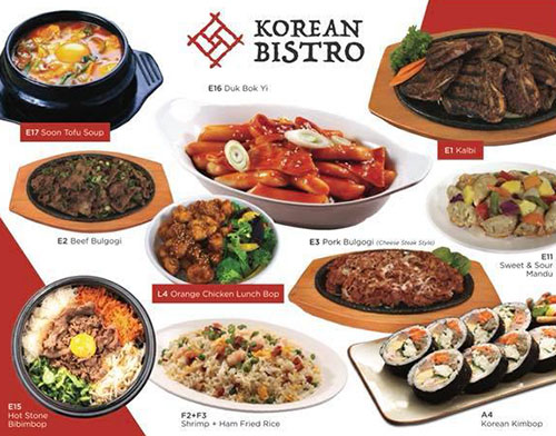 Korean Bistro menu - various dishes
