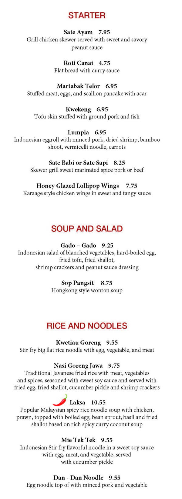 MakanMakan menu - starter, soup, salad, rice and noodles