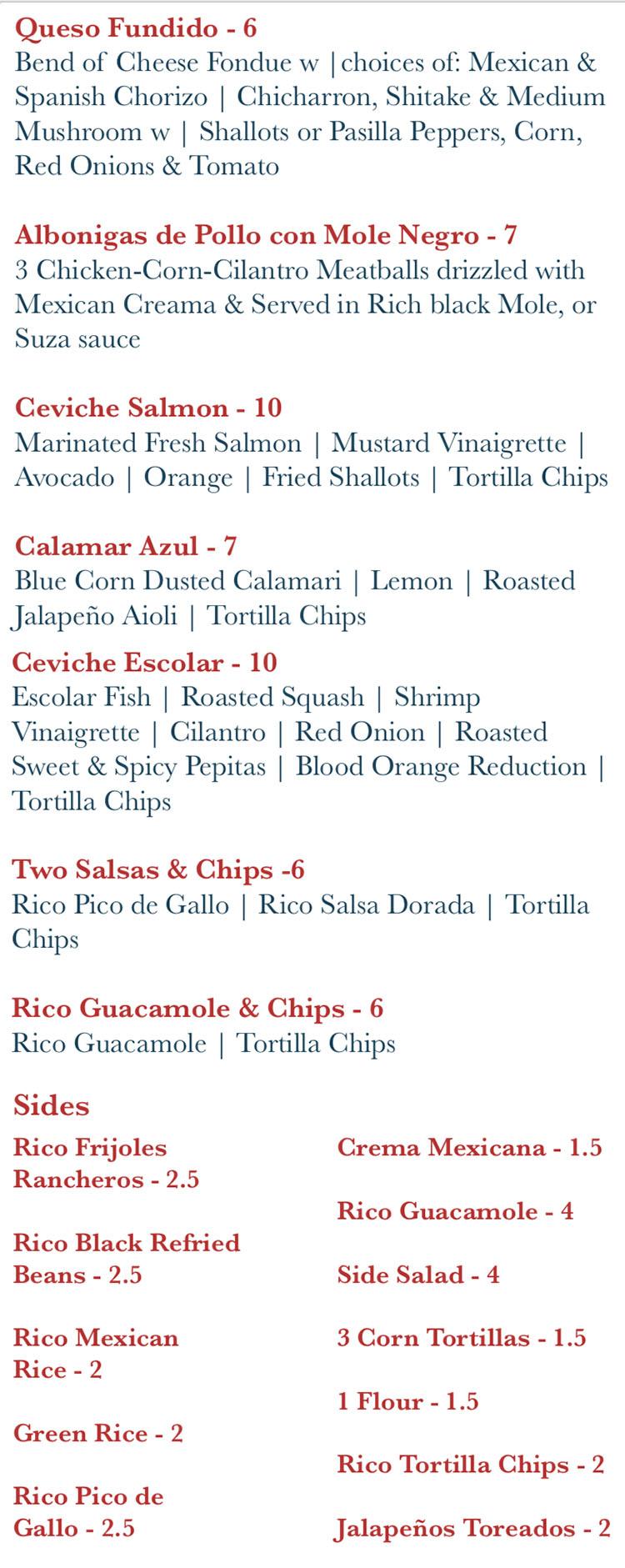 Rico Cocina Y Tequila Bar menu - appertizers, sides