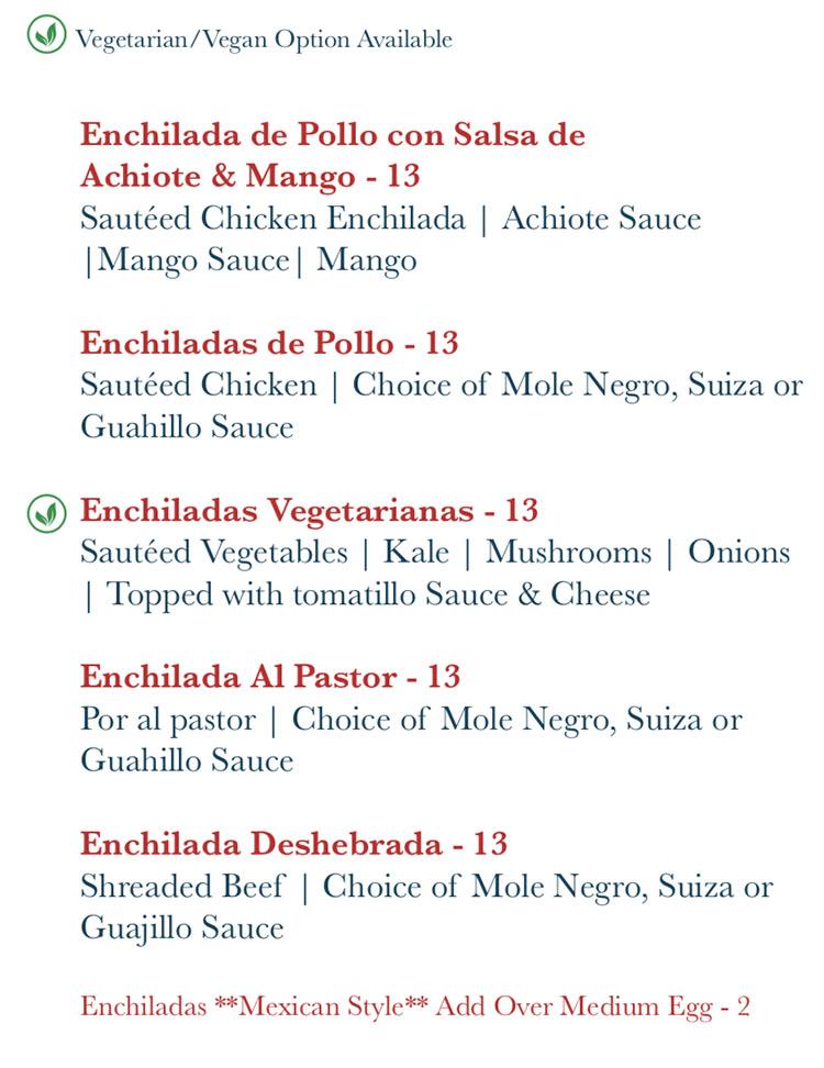 Rico Cocina Y Tequila Bar menu - enchiladas