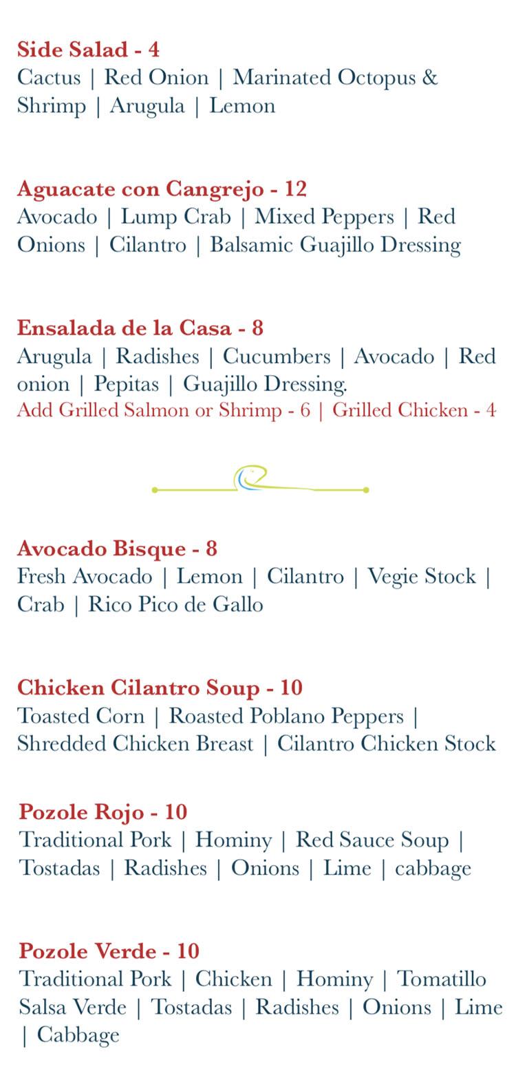 Rico Cocina Y Tequila Bar menu - salads, soups