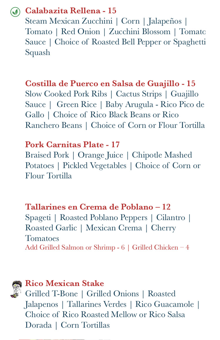 Rico Cocina Y Tequila Bar menu - specialties continued