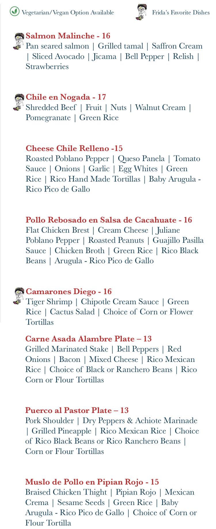 Rico Cocina Y Tequila Bar menu - specialties