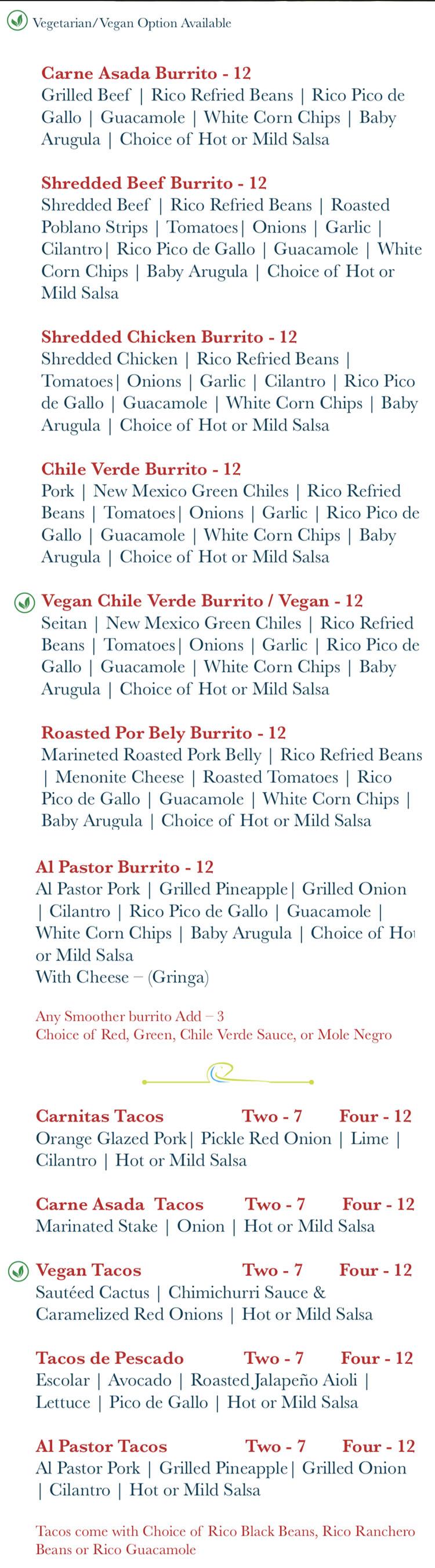 Rico Cocina Y Tequila Bar menu - tacos y burritos