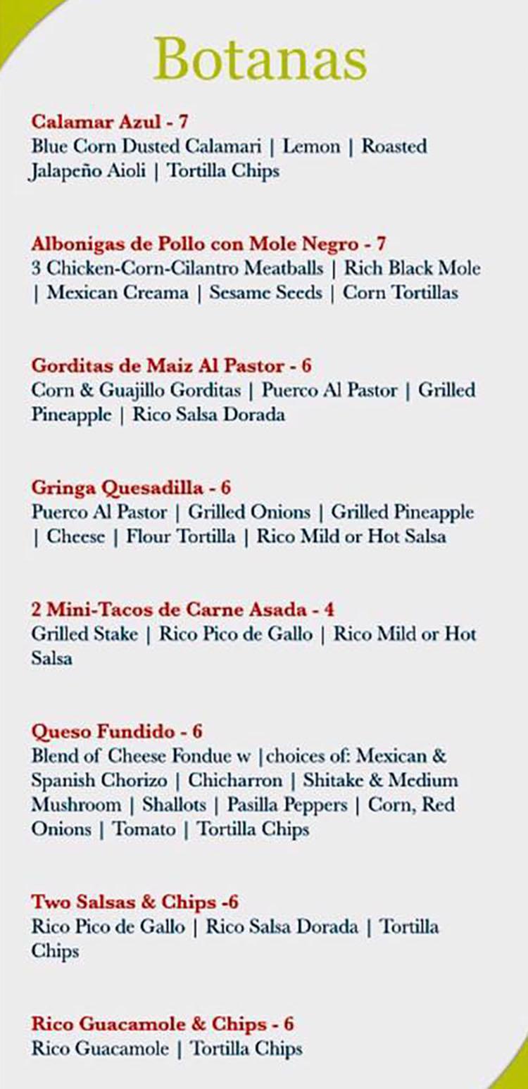 Rico Cocina Y Tequila Bar - tequila bar menu