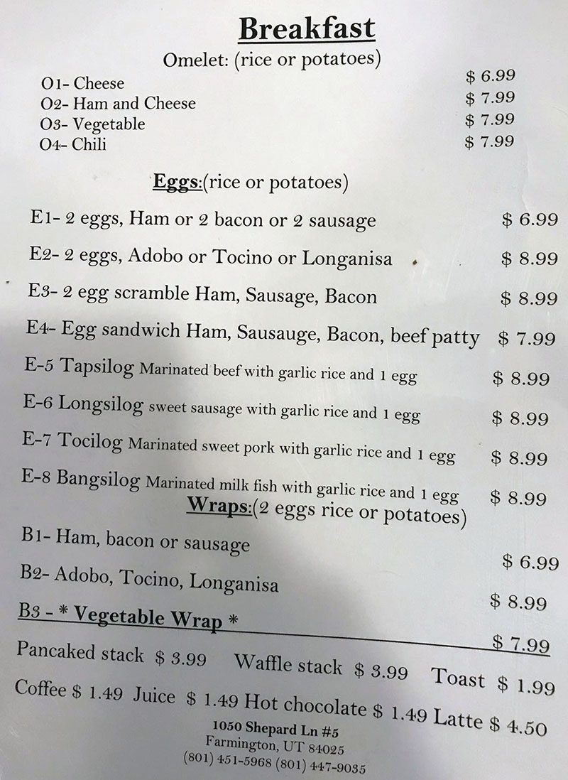 Al's Cafe menu - breakfast