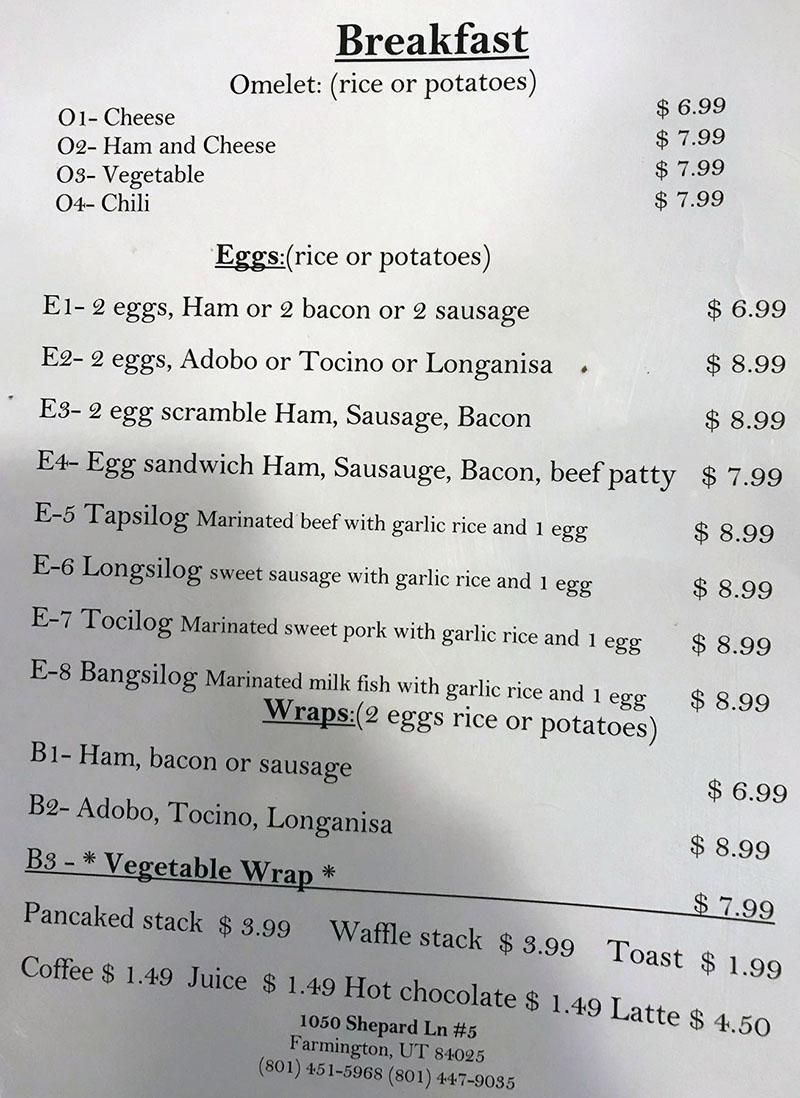 Al's Cafe menu - breakfast