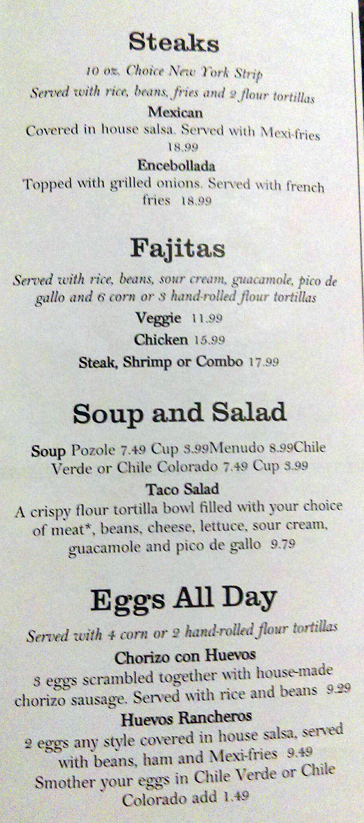 Cafe Silvestre menu - steaks, fajiltas, soup, salad, eggs all day