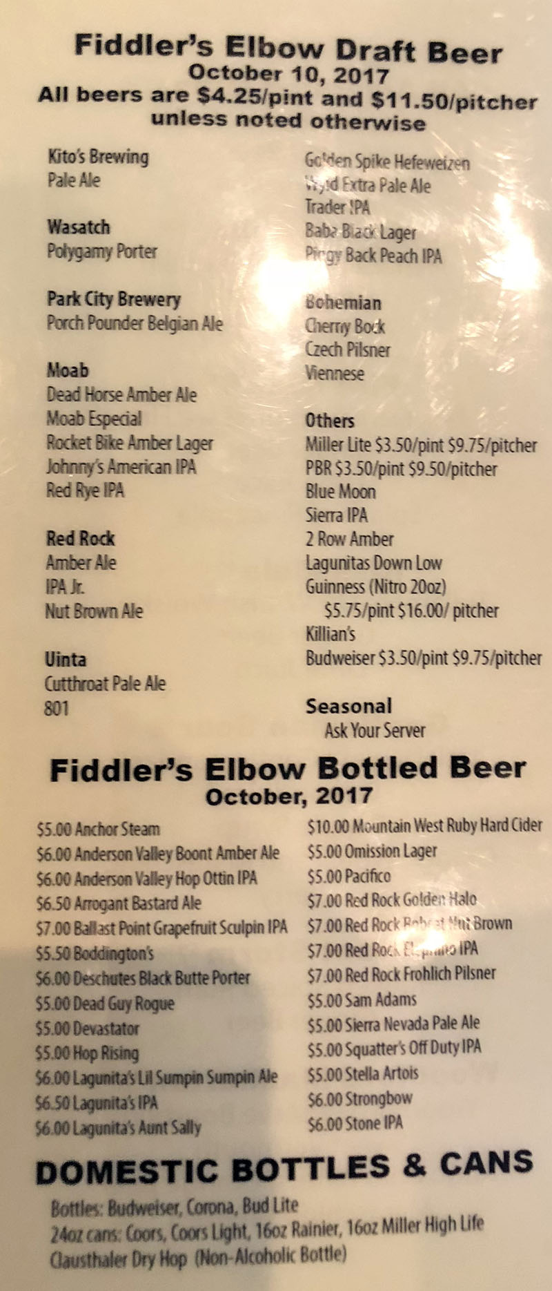 Fiddler's Elbow menu - draft beer, bottled beer, canned beer