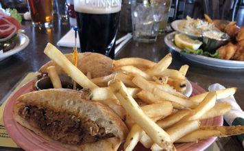 Fiddler's Elbow - sandwich, fries, guiness