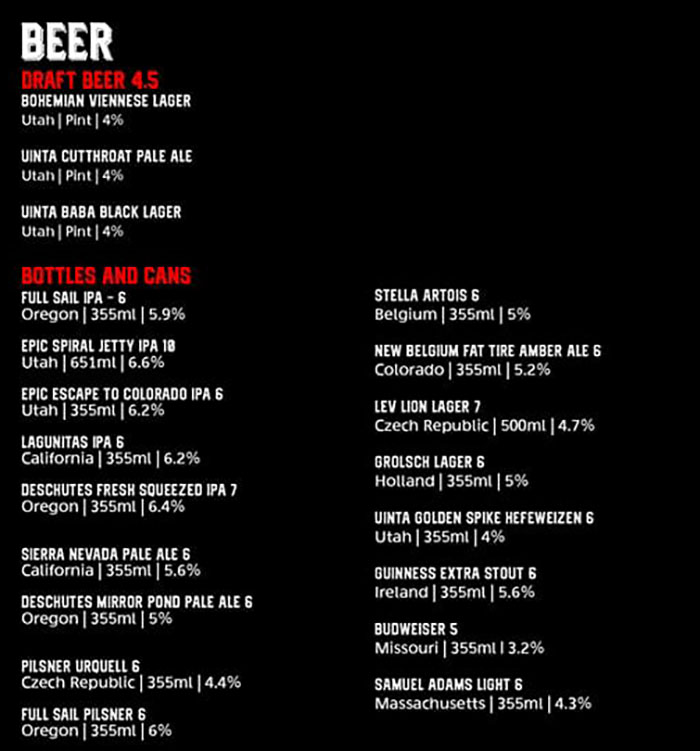 Moab Garage Co menu - beer
