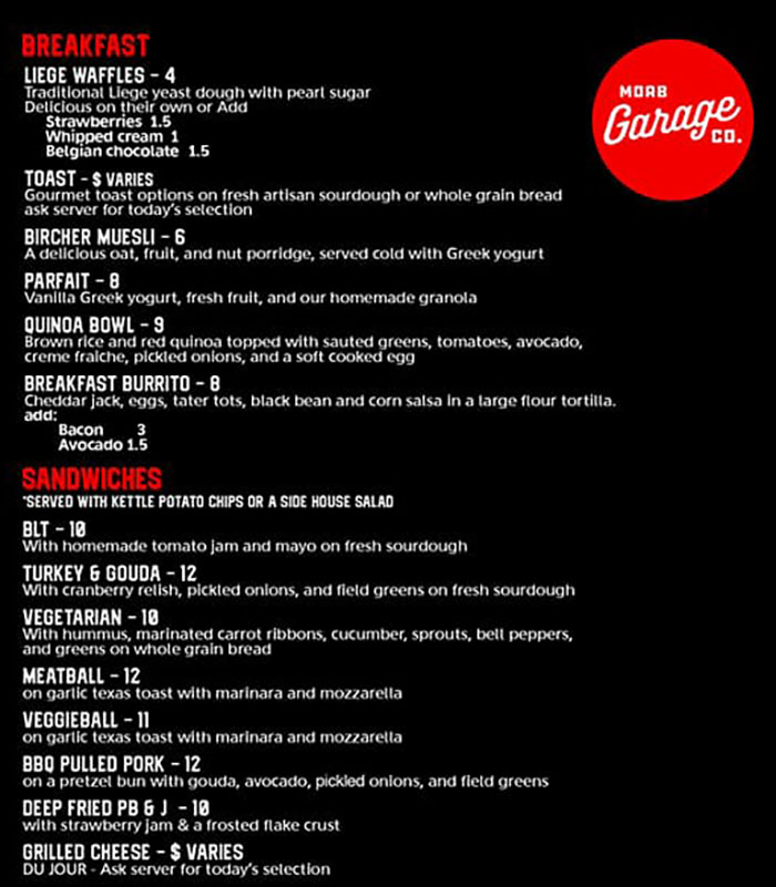 Moab Garage Co menu - breakast, sandwiches