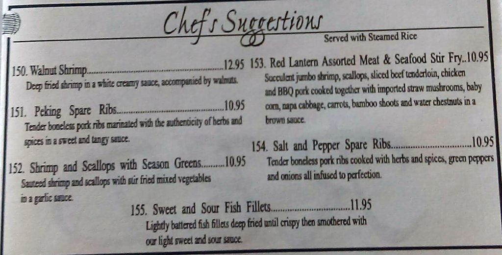 Red Lantern menu - chef suggestions