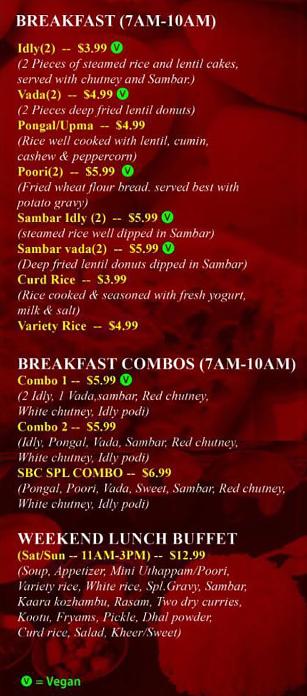 Sri Balaji Caffe menu - breakfast, lunch buffet